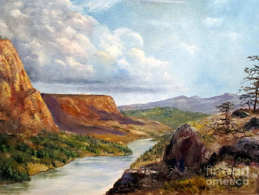 Nature Painting - Western River Canyon by Lee Piper