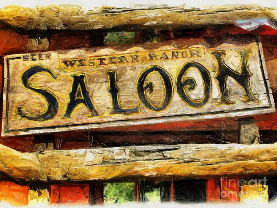 Western Saloon Sign - Drawing Drawing by Daliana Pacuraru