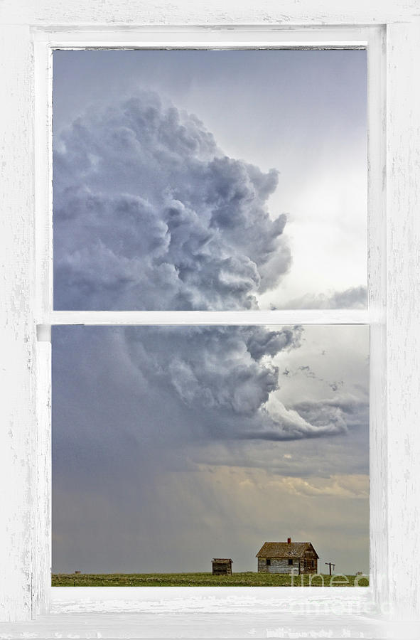 Window Frame Photograph - Western Storm Farmhouse Window Art View by James BO  Insogna