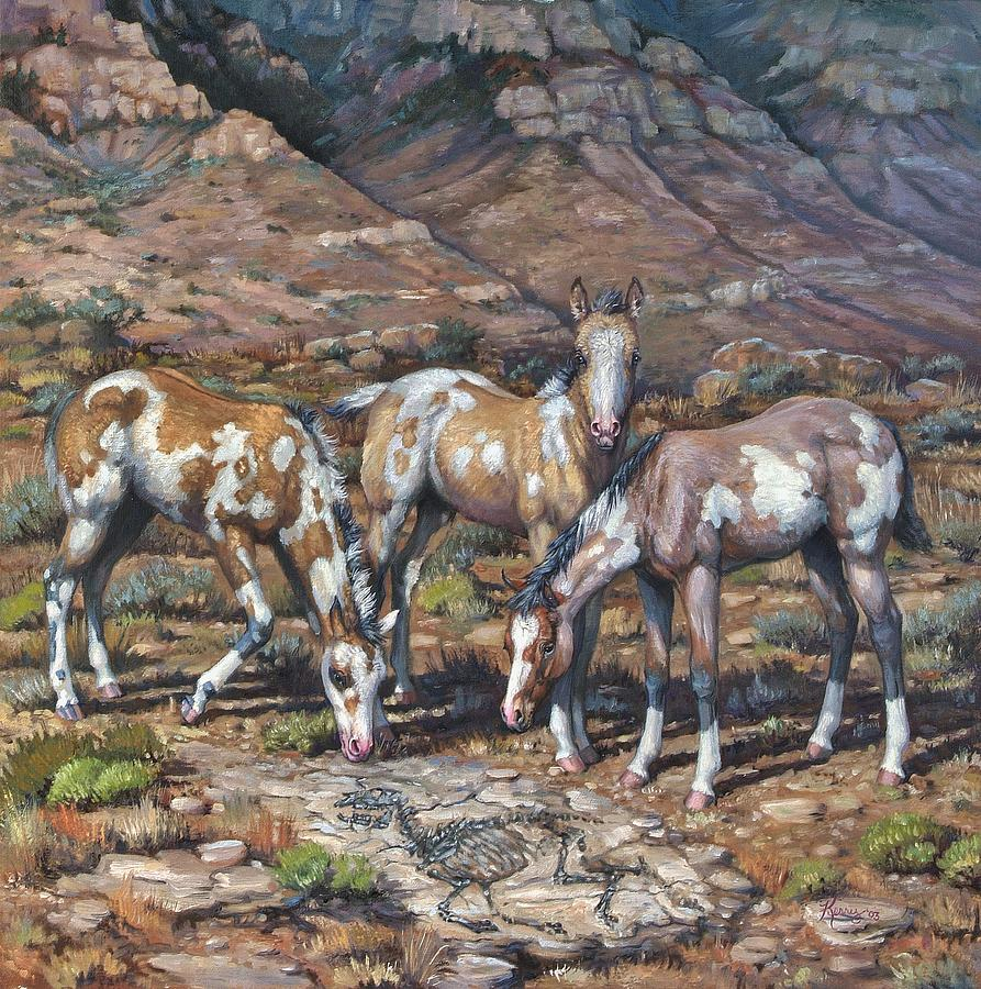 Horses Painting - Western Treasures Nursery Rhymes by Kerry Nelson