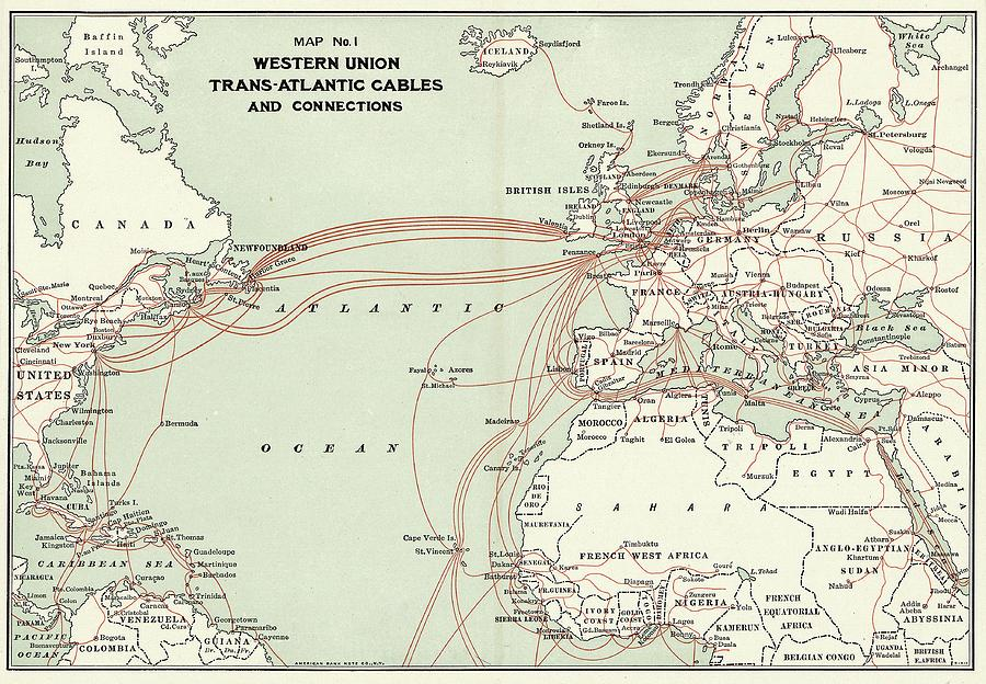 Map Photograph - Western Union Transatlantic Cables by Library Of Congress, Geography And Map Division