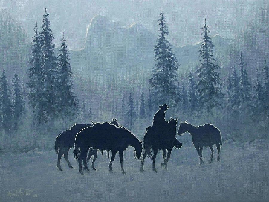 Cowboy Painting - Western Winter by Randy Follis