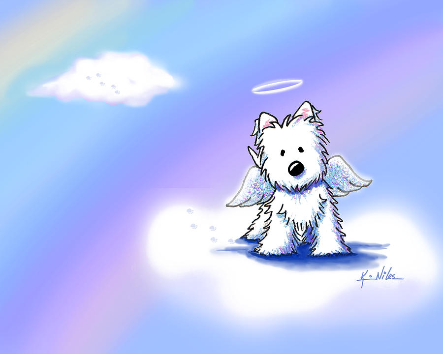 Westie Terrier Drawing - Westie Angel At Rainbow Bridge by Kim Niles