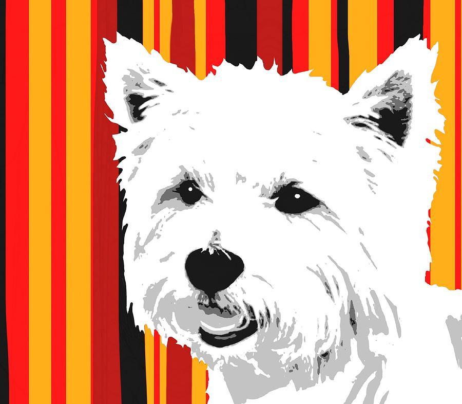 West Digital Art - Westie With Stripes by Cindy Edwards