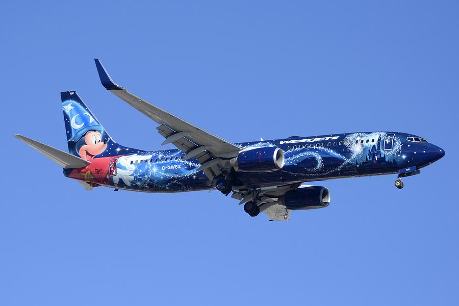 Airplane Photograph - Westjet 737-8ct C-gwsz Magic Plane Phoenix Sky Harbor February 8 2015 by Brian Lockett