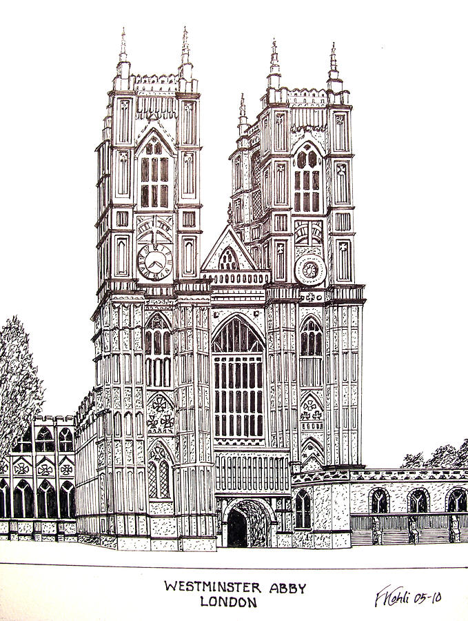 Westminster Abby London Drawing By Frederic Kohli
