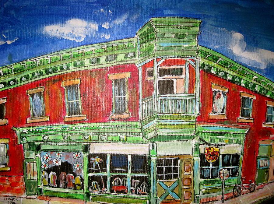 Westmount Corners Painting by Michael Litvack