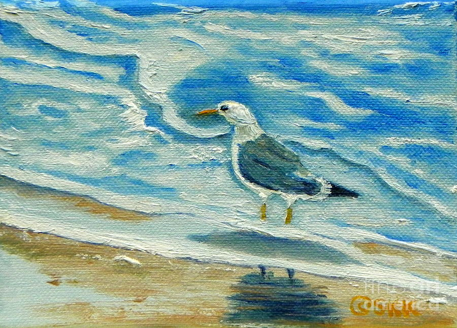 Ocean Painting - Wet Feet - Shore Bird by Shelia Kempf