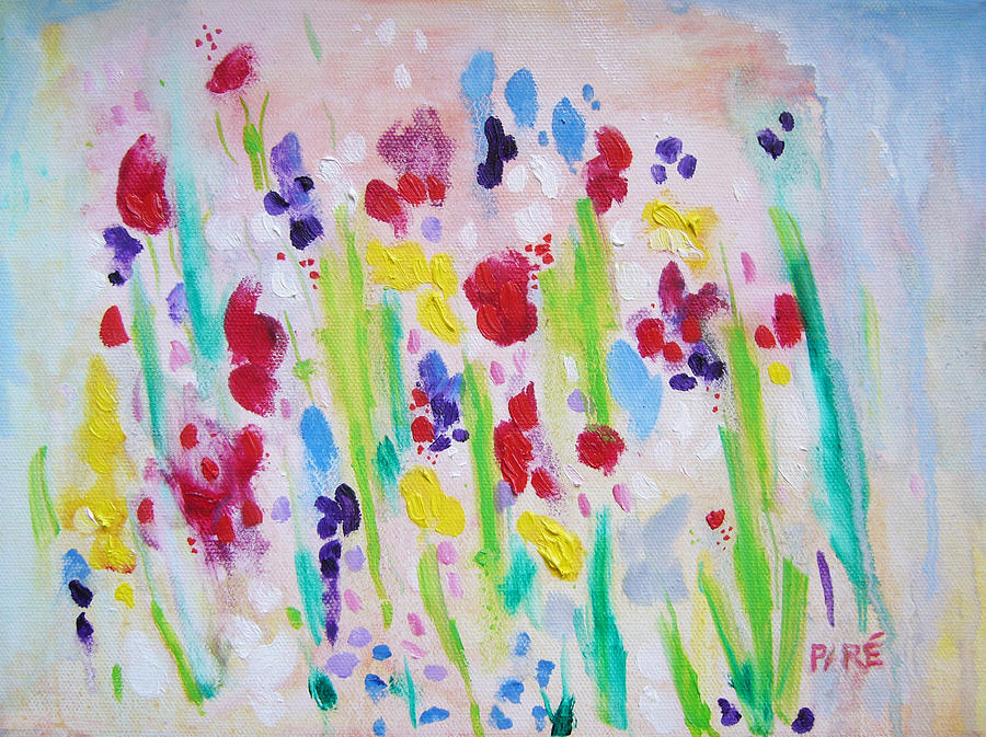 Flowers Painting - Wet Flowers by Mariam Pare