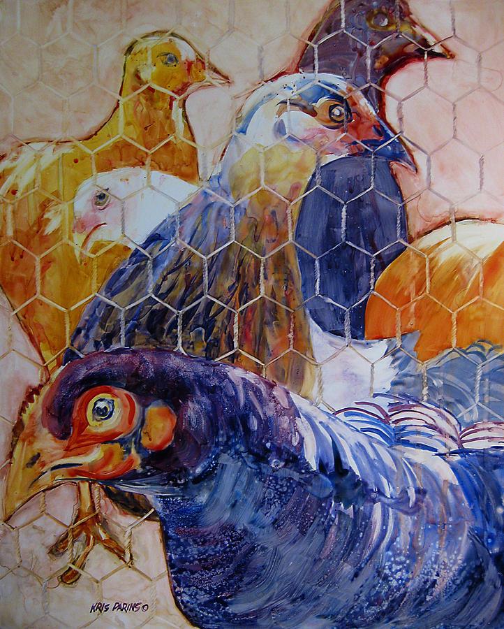 Watercolor Painting - Wet Hens by Kris Parins