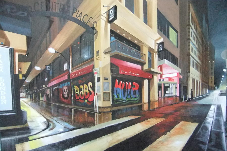 Wet Night In Melbourne Painting by Clive Holden