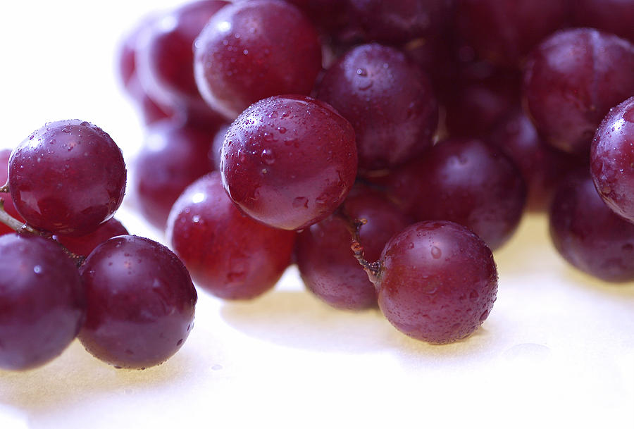 Wet red grapes 1 Photograph by Anthonyjhall