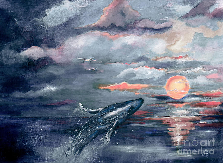 Whale Jumping Ocean Sunset Painting by Ginette Callaway