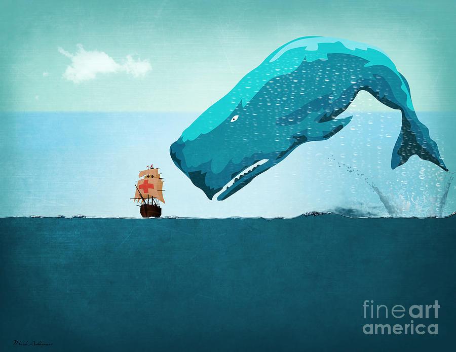 Moby Dick Digital Art - Whale by Mark Ashkenazi