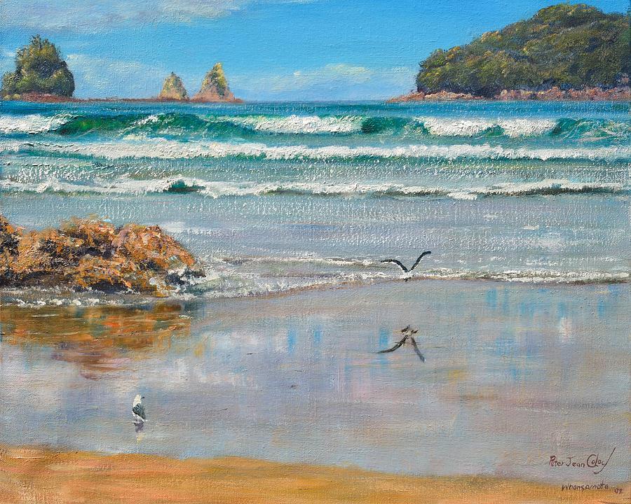 Beach Painting - Whangamata Beach by Peter Jean Caley