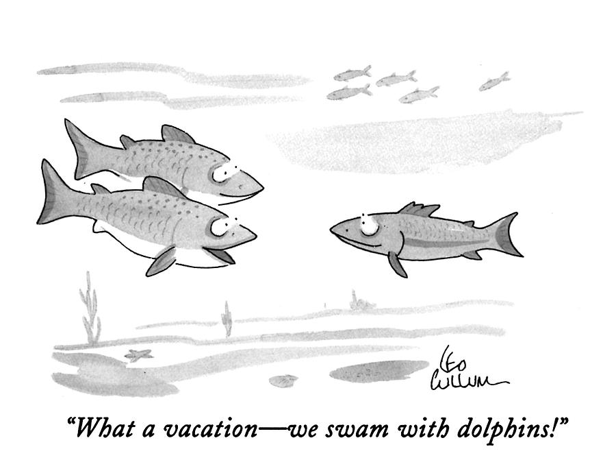 What A Vacation - We Swam With Dolphins! Drawing by Leo Cullum