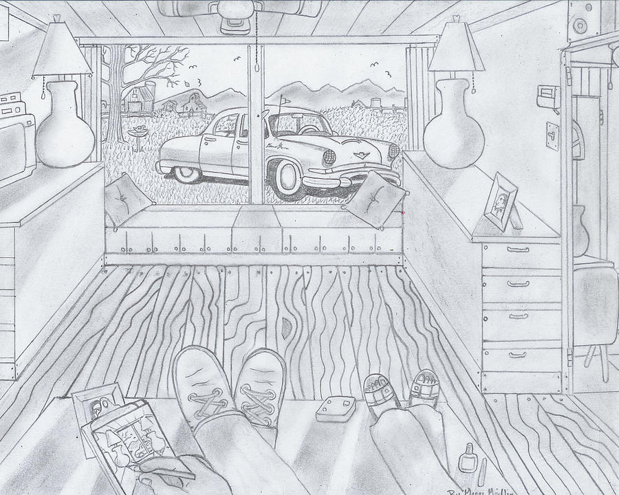 Old Car Drawing - What A View by Gerald Griffin