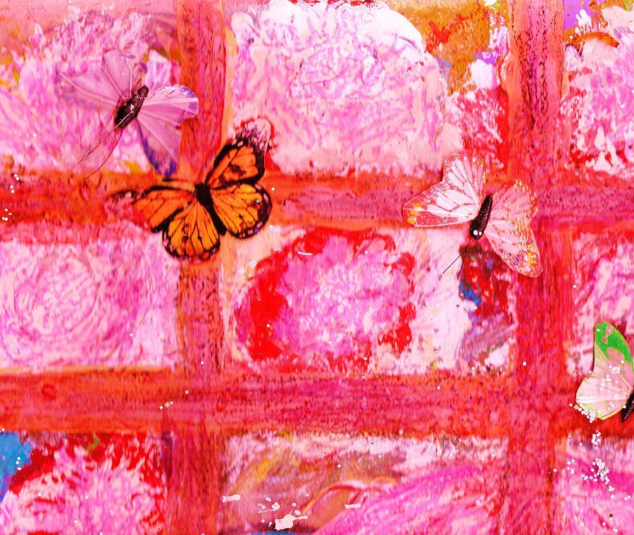Work In Progress Mixed Media - What Are All These Butterflies Doing Inside My Window ?  Work In Progress  by Anne-Elizabeth Whiteway