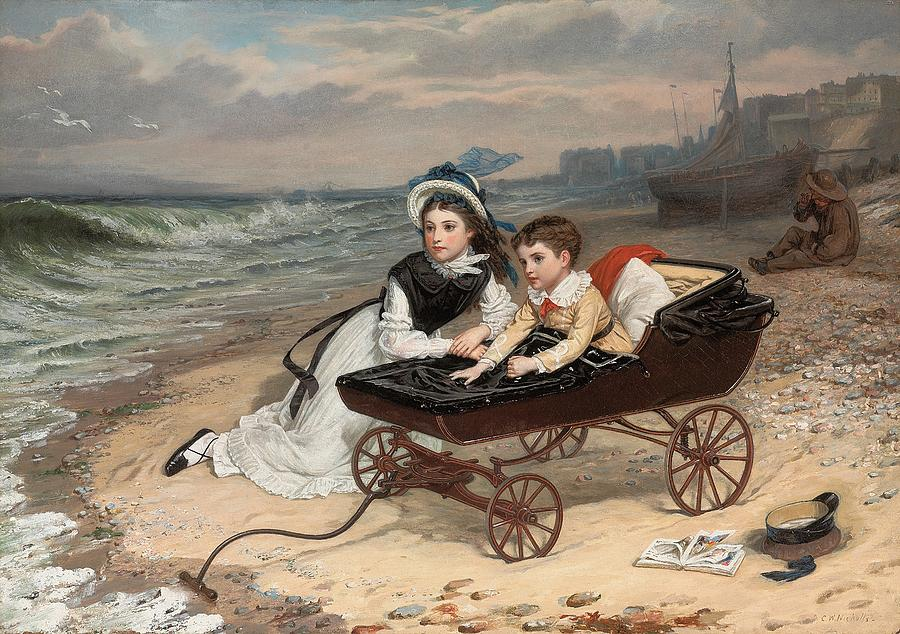 Pram Painting - What Are The Wild Waves Saying? by Charles Wynne Nicholls