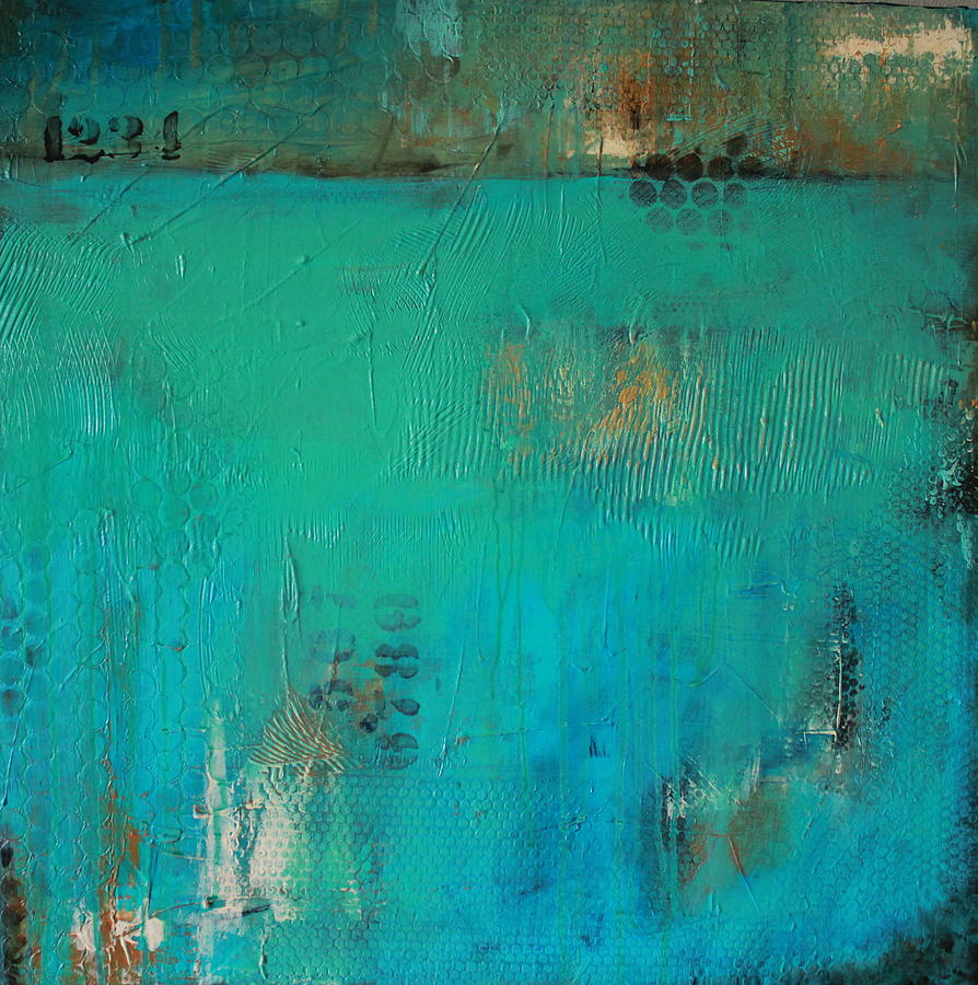 Abstract In Blues Painting - Blue Lagoon by Lauren Petit