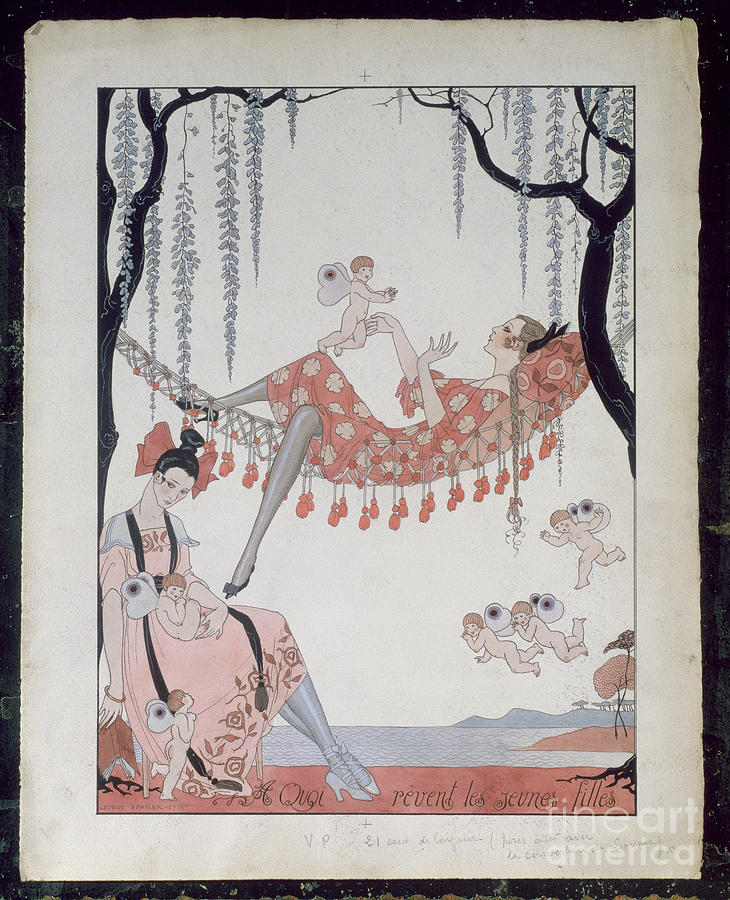 Female Painting - What Do Young Women Dream Of? by Georges Barbier
