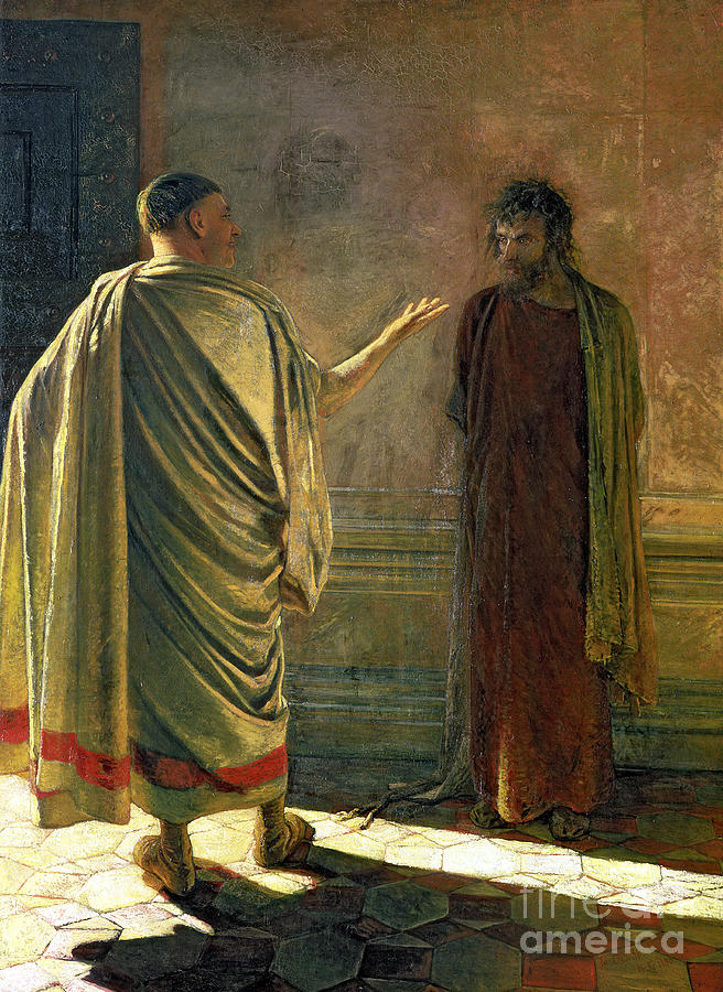 Pontius Painting - What Is Truth    Christ And Pilate by Nikolai Nikolaevich Ge