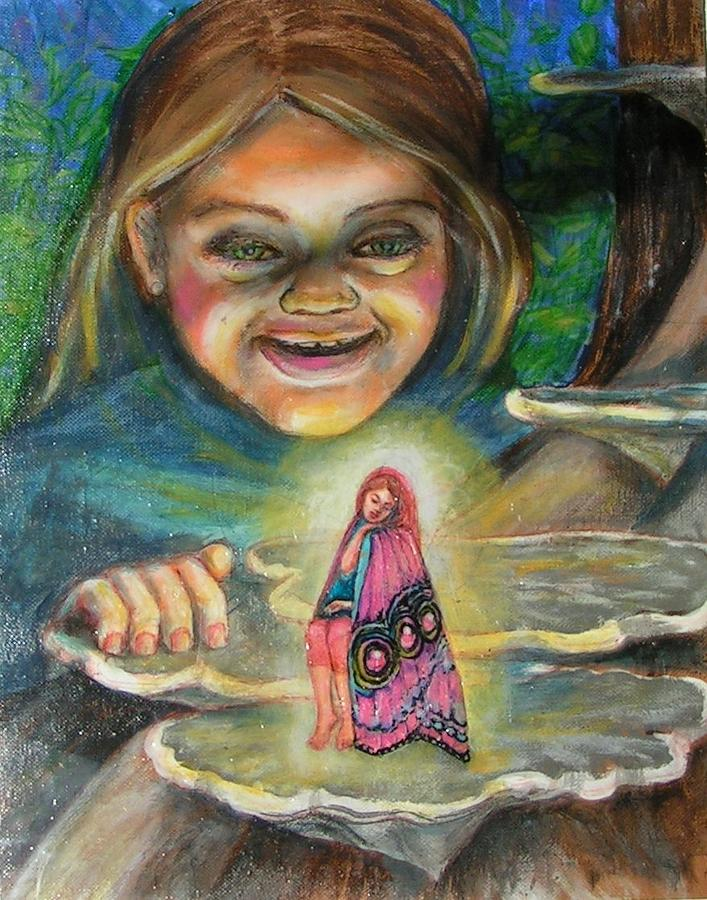 What Sleeps On The Wood Mushroom Painting by Maria Elena Gonzalez
