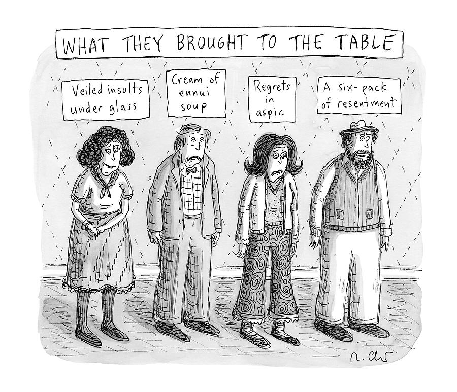 What They Brought To The Table -- A Line Drawing by Roz Chast