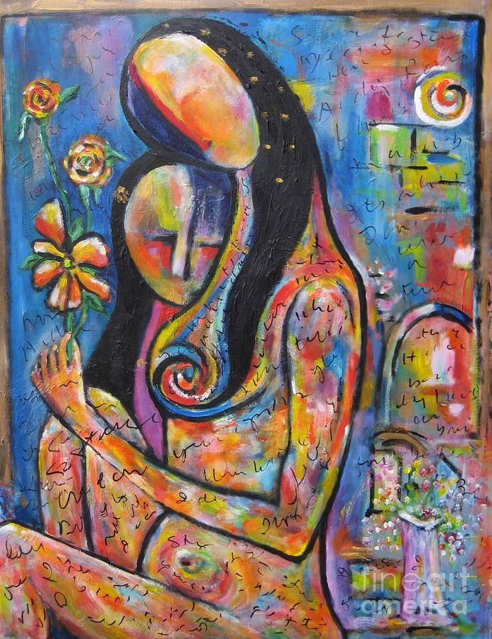 Woman Painting - What We Leave Behind by Chaline Ouellet
