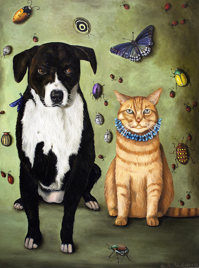 Dog Painting - Whats Bugging Luke And Molly by Leah Saulnier The Painting Maniac