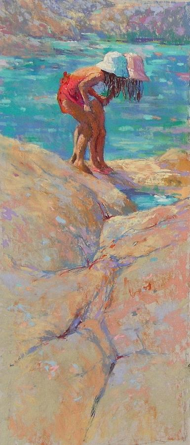 Children Playing Painting - Whats In The Rockpool? by Jackie Simmonds