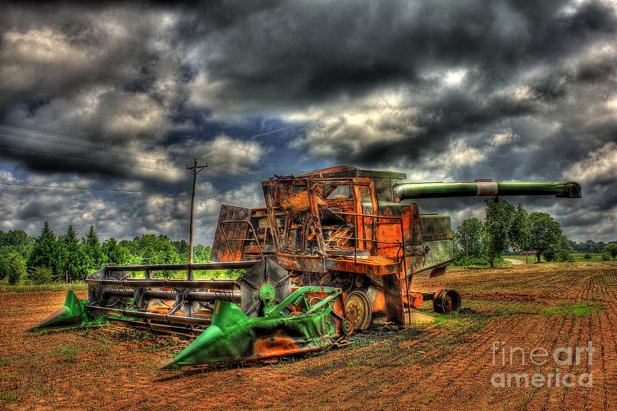 Georgia Wheat Field Photograph - Wheat Field Fire 2 by Reid Callaway