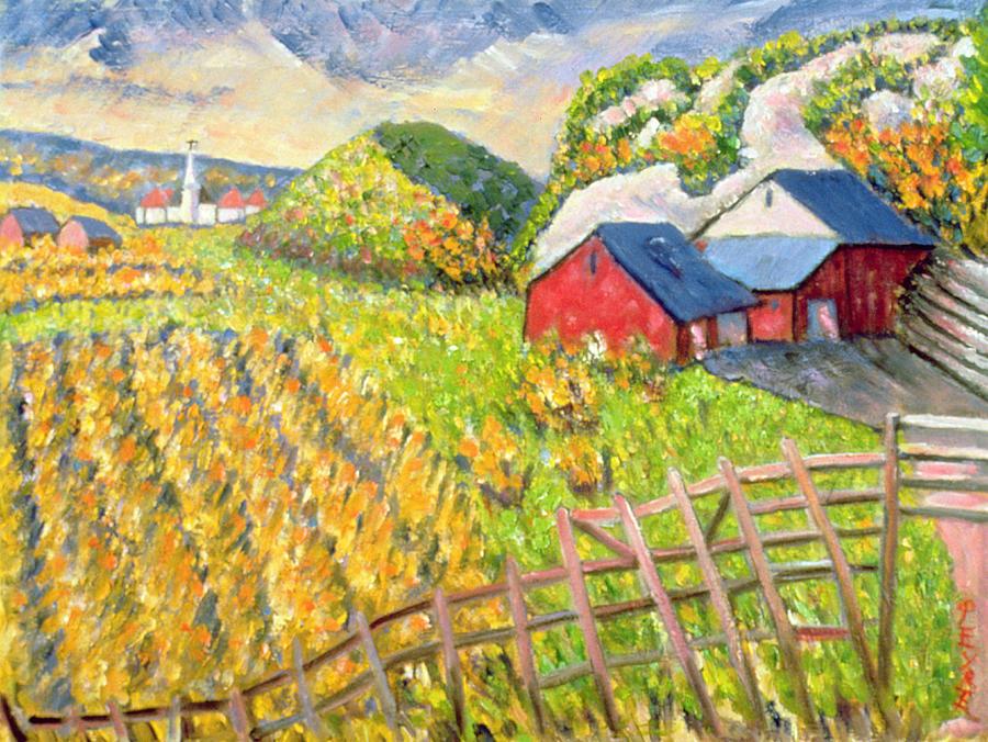 Farm Painting - Wheat Harvest Kamouraska Quebec by Patricia Eyre