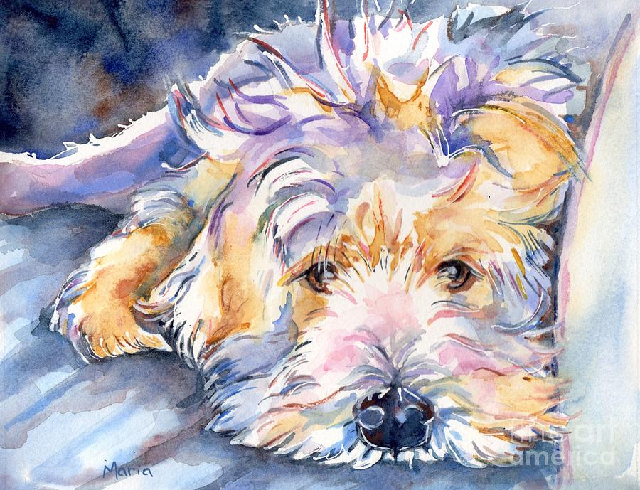 Pet Portrait Painting - Wheaten Terrier Painting by Marias Watercolor
