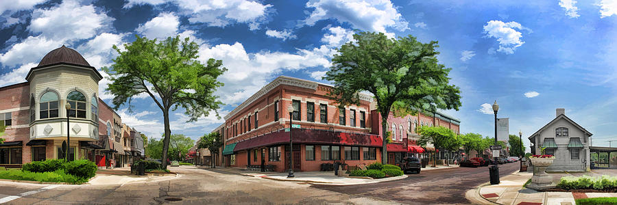 Wheaton Painting - Wheaton Front Street Panorama by Christopher Arndt