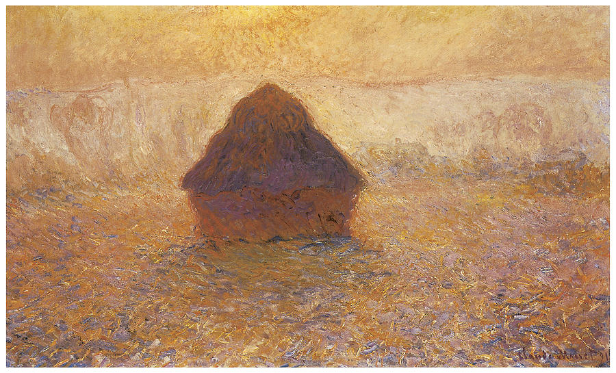 Haystack Painting - Wheatstack Sun In The Mist by Claude Monet