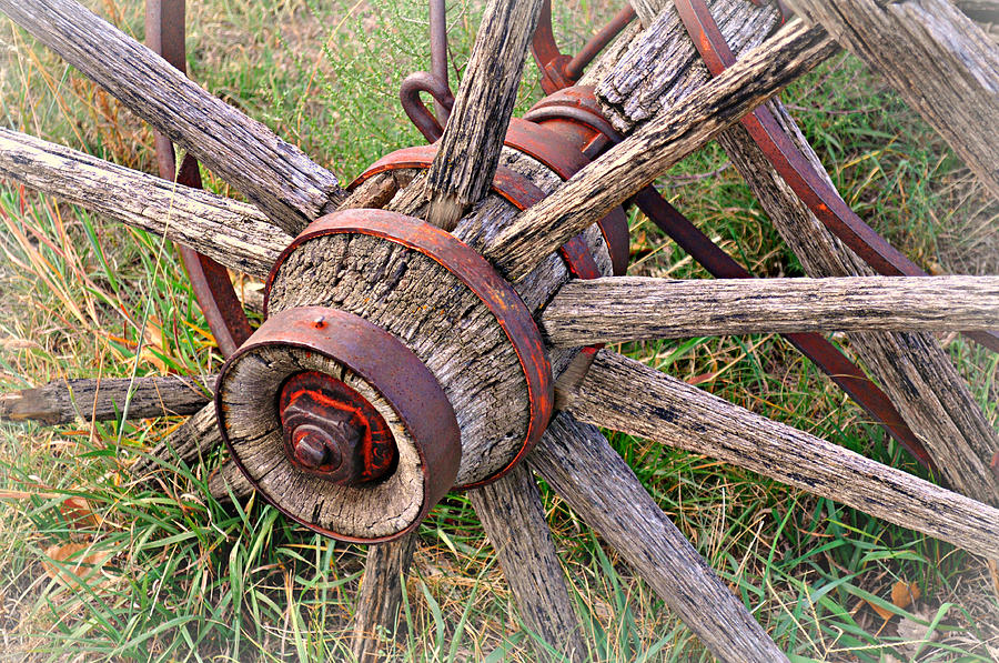 Wagon Wheel Photograph - Wheel Of Old by Marty Koch