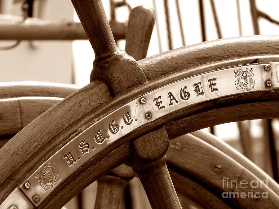 Wheel Photograph - Wheel On Us Coast Guard Cutter Eagle In Portland Maine by Christine Stack