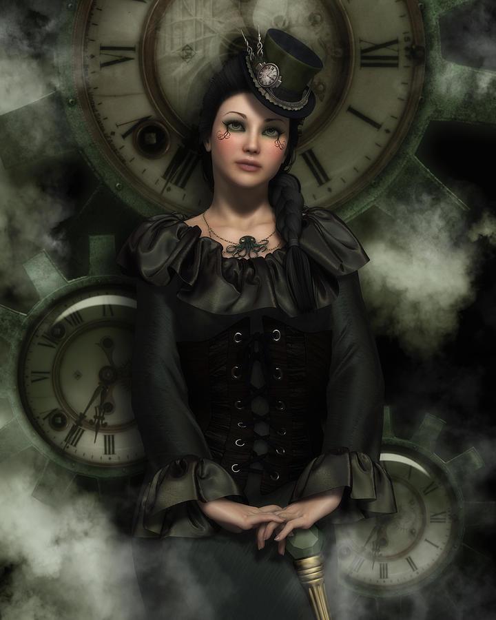 Steampunk Digital Art - Wheels Of Time by Rachel Dudley