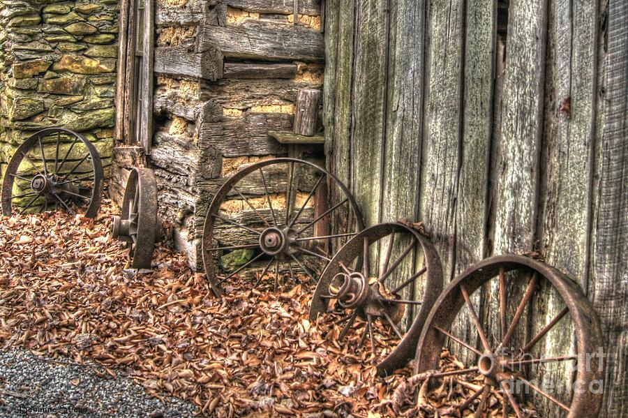 Wagon Wheel Photograph - Wheels Of Time Two by Benanne Stiens