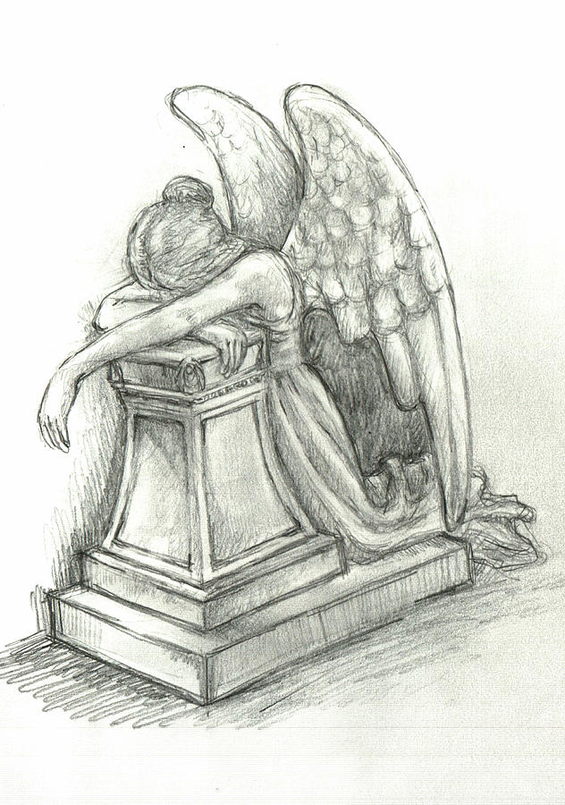 Angel Statue Drawing - When Angels Weep 2 by Lina Zolotushko