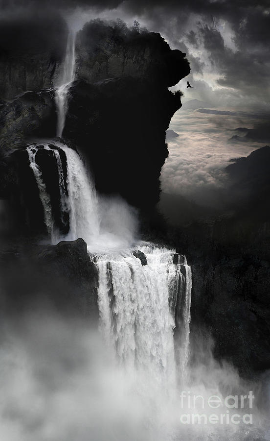 Waterfall Digital Art - When Darkness Falls by Lynn Jackson
