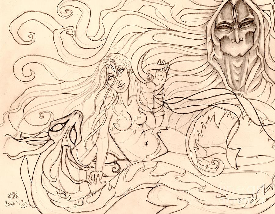 Demon Drawing - When Demons And Dragons Clash Sketch by Coriander  Shea