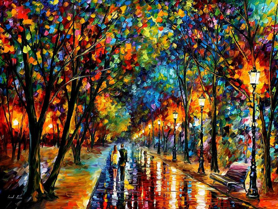Leonid Afremov Painting - When Dreams Come True - PALETTE KNlFE Landscape Park Oil Painting On Canvas By Leonid Afremov by Leonid Afremov