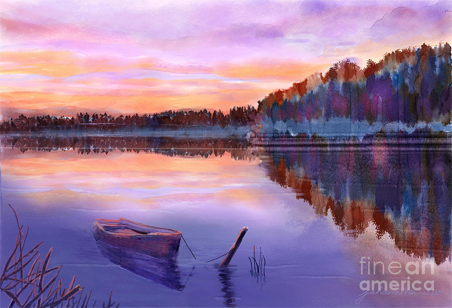 Lake Painting - When Evening Falls  by Joan A Hamilton