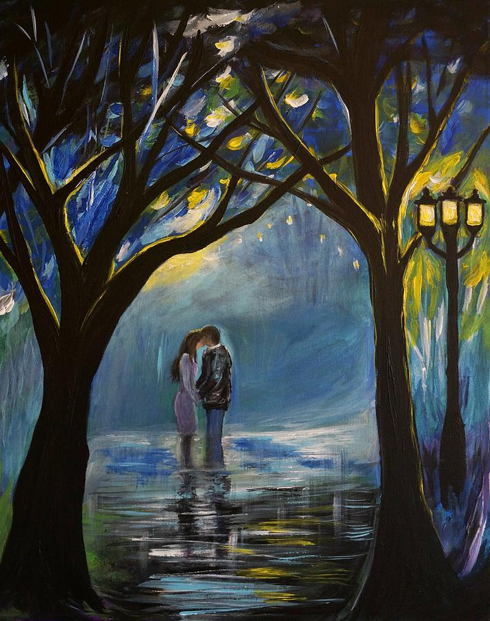 Couple Kissing Canvas Prints Painting - When I Fall In Love by Leslie Allen
