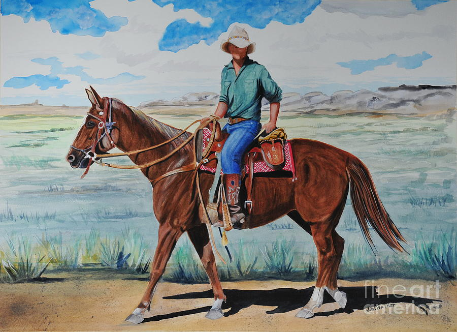 Cowboy Painting - When I Was Young by John W Walker