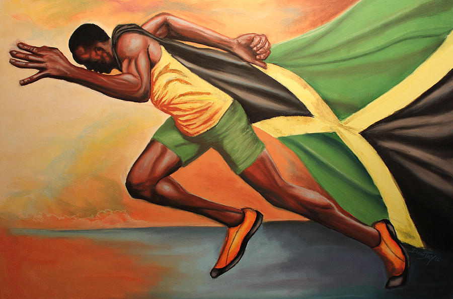 Usain Painting - When Lightning Strikes by The Art of DionJaY
