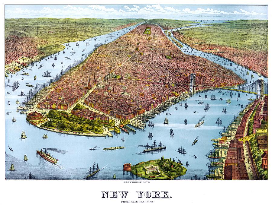 New York Digital Art - When New York Was Flat by Georgia Fowler