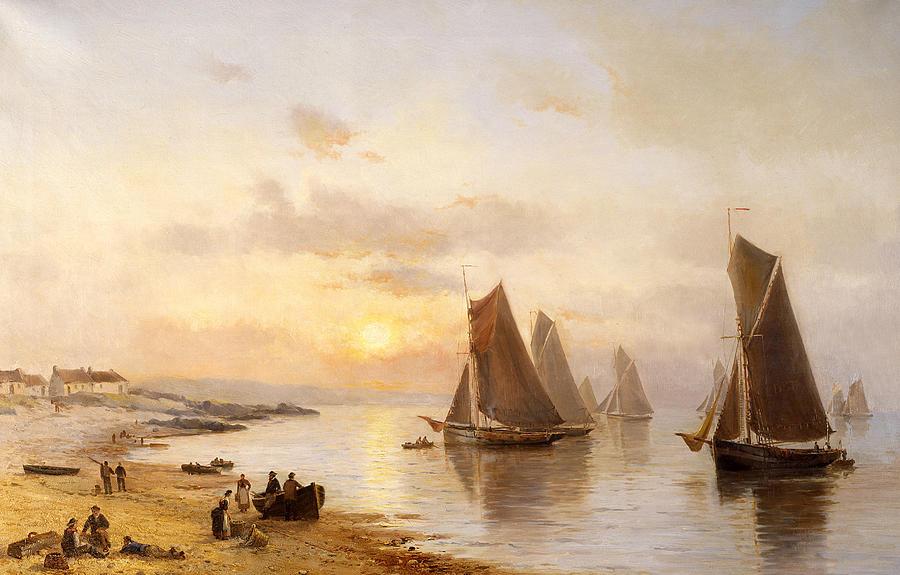 Evening Painting - When The Boats Come Home by Alexander Williams